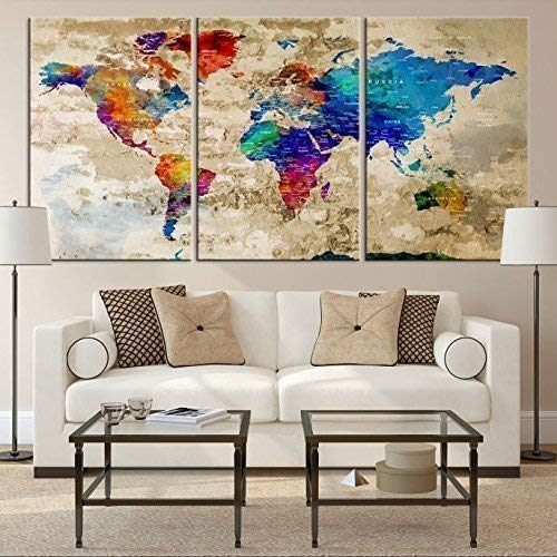 Canvas Map Of The World Amazon.com: Watercolor World Map Wall Art by My Great Canvas | 3