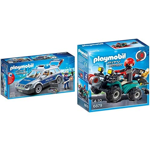 Playmobil 6873 - Polizei-Einsatzwagen & 6879 - Ganoven-Quad mit Seilwinde