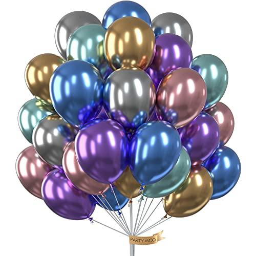 PartyWoo Globos Metalizados, Globos Metalicos 50 Piezas Globos Dorados Globos Plateados Globos Azules Globos Verdes Globos Rojos Gglobos Morados, Helio Globos para Fiestas, Globos de Cumpleaños