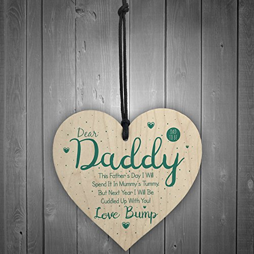 RED OCEAN Dear Daddy From Bump Gifts Wood Heart Dad To Be Father Funny Card Baby Son Daughter Present