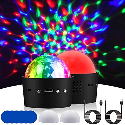 2 Stücke LED Discokugel Licht zum Parteien, Aerbee Mini RGB Wiederaufladbar Ton Aktiviert Strobe Bühnen Disko Partylicht zum Zuhause KTV Weihnachten Geburtstag Bar
