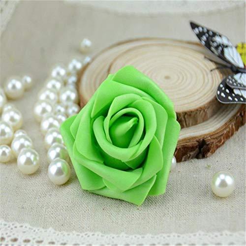 50 stks/partij 6 cm handgemaakte kunstmatige pe schuim rozen bloem hoofd bruiloft thuis auto decoratie diy krans kus bal nep bloemen, groen