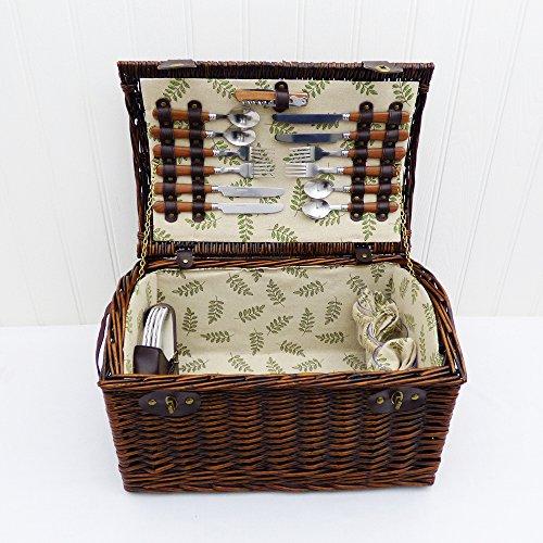 Greenfield-Cestino da Picnic per 4 persone, Thyme Season-Cestino da Picnic in vimini con tracolla & Accessories Gift ideas