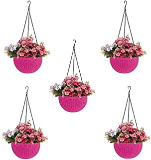 MOM'S GADGETS Round Rattan Plastic Hanging Planters/Beautiful Hanging Flower Pots for Garden Patio Balcony (Pink, 5)