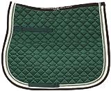 USG - Paño para Silla de Montar con Doble Cuerda para Uso General, Pony, Verde Oscuro/Crudo/marrón con Borde, Crudo/Verde Claro