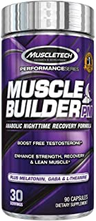 MuscleTech Muscle Builder PM Nighttime Post Workout Recovery Supplement with Melatonin & L-Theanine, Boosts Testosterone, 30 Servings (90 Count)