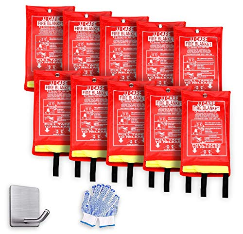 JJ CARE Upgraded Fire Blanket 40'x40' with 10Hooks & 10Gloves, Silica...
