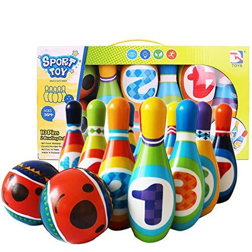 CABINA HOME Kinder Bowling Set Kegelspiel Spiel Indoor Outdoor Sport Spielzeug Lernspielzeug Geschenk mit 10 Kegel Und 2 Bälle für Kinder 3 4 5+ Jahre