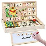 MEckily Montessori Holz Spielzeug ab 3 4 5 6 Jahr Jungen und Mädchen, Magnetisches Holzpuzzle mit 3 Lerntafel , 170 Stück Lernspielzeug Geburtztag Geschenk für Kinder