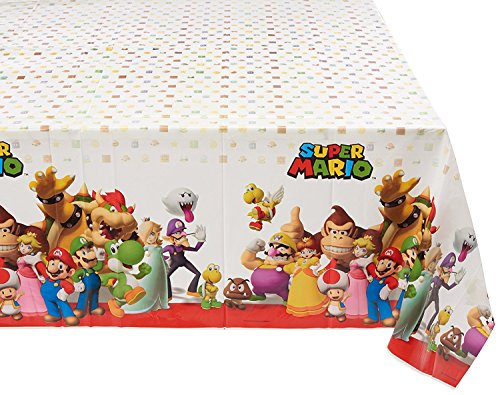 "Amscan Swank Super Mario Brothers Birthday Party Plastic Table Cover Tableware Decoration, Multi Color, 54' x 96"" (Three-Pack)"