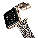 amBand Top Grain Leather Band Compatible with Apple Watch 38mm 40mm, Unique Designed Replacement Strap for iWatch Series 5/4/3/2/1 Classic Leopard Wristband with Rose Gold Adapter