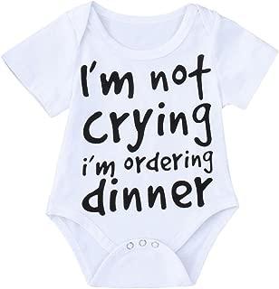 Anxinke Newborn Baby Boys Girls Letter Printed Jumpsuit Short Sleeve Soft Cotton Rompers