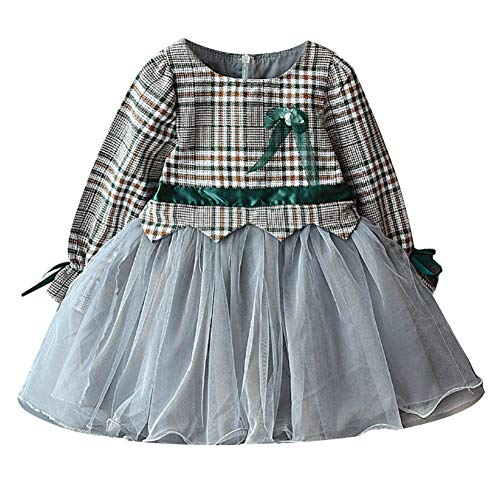 Gyratedream Herfst Casual Baby Meisjes Plaid Patroon Lange Mouw Patchwork Mesh Jurk Kids Sundress