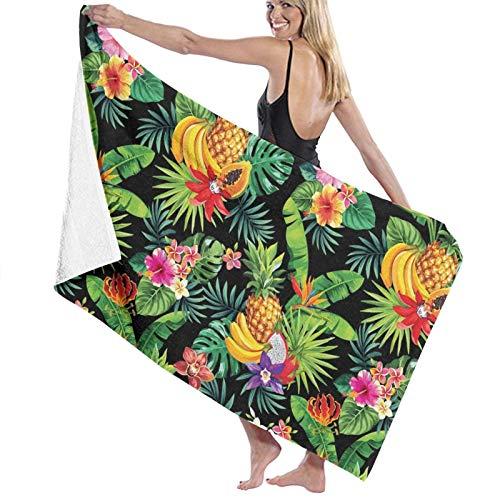 Toalla de playa de microfibra, tamaño grande, hojas de palma, 130 x 80 cm, ligera y seca, toalla de microfibra perfecta como toalla de playa y toalla de viaje