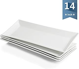 Sweese 704.101 14 Inch White Rectangular Plates, Serving Platters for Parties, Porcelain Serving Plates - Set of 4