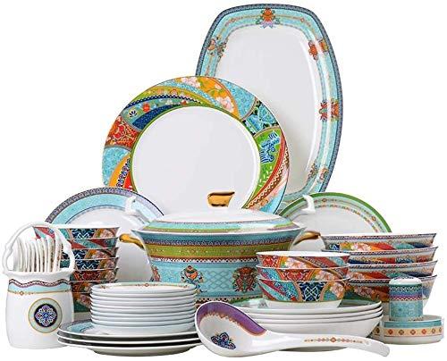 Porcelana Premium Set De Cubiertos Bone China Como Platos Chinos Vajillas Personalidad Creativa De La Cerámica Regalos Casa Juego De Cubiertos De 60 Piezas for Catering and Home ( Color : White )