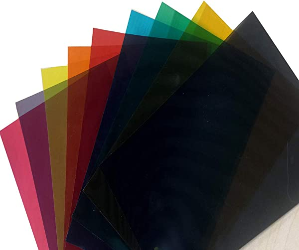 HOHOFILM 9 色包彩色透明窗膜自粘玻璃装饰色调 A4 样品 21cmx29 7厘米