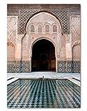 H/P Marruecos Lienzo Arqueado Pintura Islámica Pared Arte Cartel Hassan II Mezquita Impresión Árabe Musulmán Decoración Imagen Sin Marco 50X70Cm W846