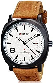 CURREN 8139 White Sport Military Leather Men Wrist Watch
