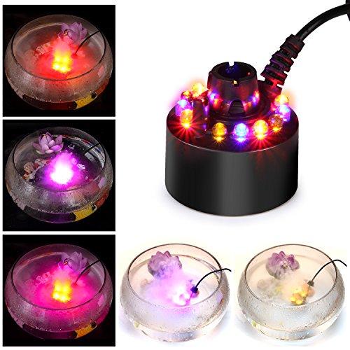 FITNATE 12 LED Mini atomizador ultrasónico de la máquina de Humo de la charca de la Fuente de Agua de Fogger del Fabricante de la Niebla con el humectador del Aire del Adaptador