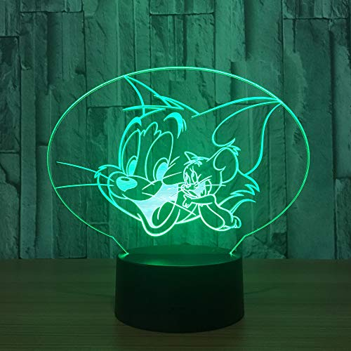 orangeww3D Illusionslampe/FC BAYERN/BVB/PARIS/Sicherheitsausgang/Süße Katze/ 7 farbwechselnde Nachtlichter neben Tischlampe/Smart Touch Button Süße Katze