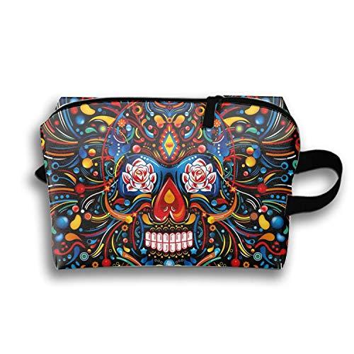 Adorable Mexican Skull Pencil Case Zipper Coin Organizer Makeup Costmetic Bag Pouch