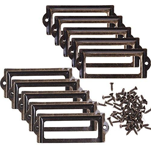 BCP 10pcs 83 x 30mm Bronze Color Metal Office File Cabinet Shelves Drawer Name Card Label Holder Frames with Screws