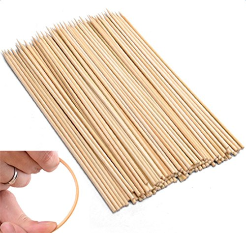 Freedi 100 Thin Bamboo BBQ Skewers 11in All Natural Barbecue Grill Stick Skewers