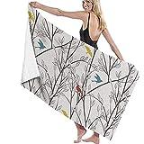 Florane Birds Wildlife Cartoon Strandtuch Polyester Badetuch Schnelltrocknende Stranddecke, Handtücher