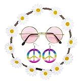 Widmann 95718 - Hippie Set, 3- teilig, Blumenhaarband, Ohrringe, Brille, Verkleidungsset, Accessoire, Reaggae, Hippie Outfit, Motto Party, Karneval