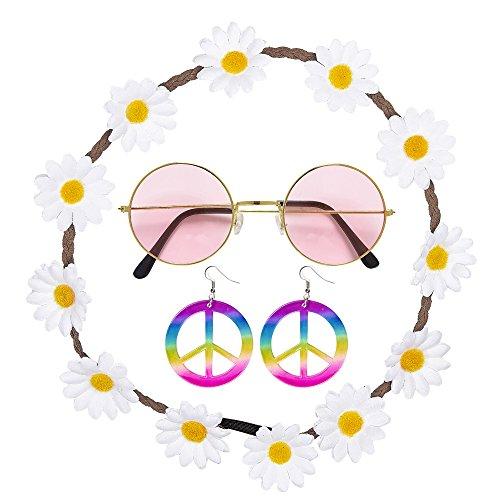 Widmann - Hippie Set, Blumenhaarband, Ohrringe und Brille