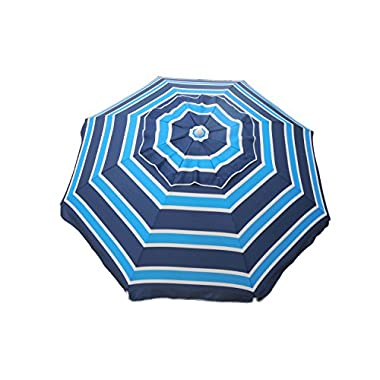Heininger 1299 Beach Umbrella with Tilt and Travel Bag (Navy Blue and Aqua 7 foot)