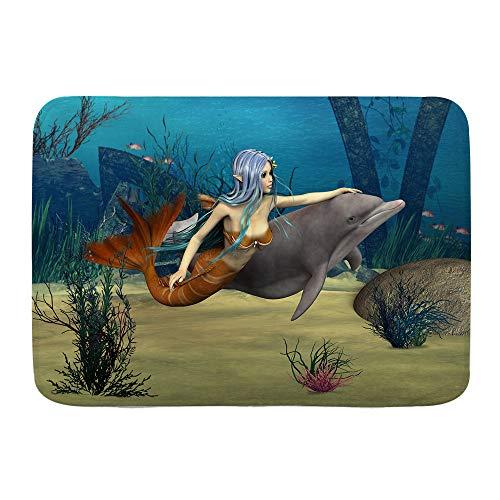 TOVIHUA Fußmatten Bad Teppiche Outdoor,Meerjungfrau Fee Marine Nette Meerjungfrau Mädchen und Delfin Fisch Schwimmen Unterwasser im Blauen Ozean,Klassische Badezimmer Dekor Teppich Badematte