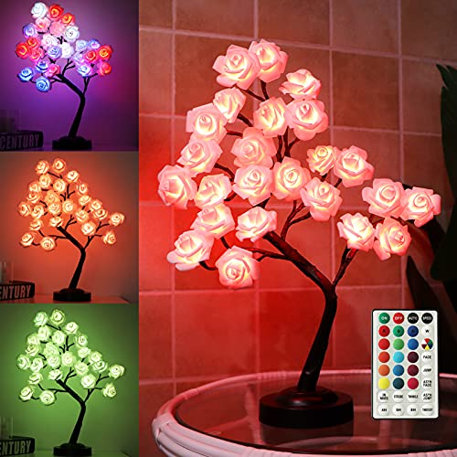 """Fashionlite Tabletop Bonsai Tree Colorful 18"""" 24 LED Rose Flower Tree with 18 Colors Changing Remote, Table Lamp for Girls Teens, Multi Color Light Decorative Desk Tree for Home Party Wedding Bedroom"""