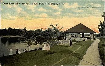 Cedar River and Water Pavilion, Ellis Park Cedar Rapids, Iowa Original Vintage Postcard
