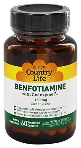 Country Life Benfotiamine 150mg with Thiamin - Fat Soluble Vitamin B1 Enhanced Bioavilability Supports Glucose Metabolism & Nervous System Health - Vegan, Gluten-Free - 60 Vegetarian Capsules
