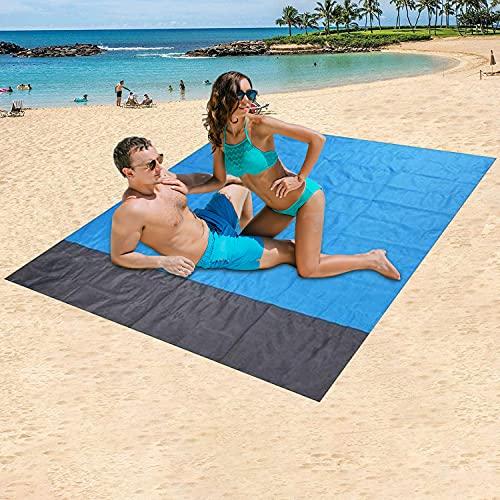 BAYHT Picknickdecke 210 x 200 cm, Stranddecke wasserdichte, Sandabweisende Campingdecke 4 Befestigung Ecken, Ultraleicht kompakt Wasserdicht und sandabweisend für Outdoor Reisen und Camping
