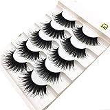 Women's False Eyelashes, Iuhan 5Pair/Box Luxury 3D False Lashes Fluffy Strip Eyelashes Long Natural Party (Black)