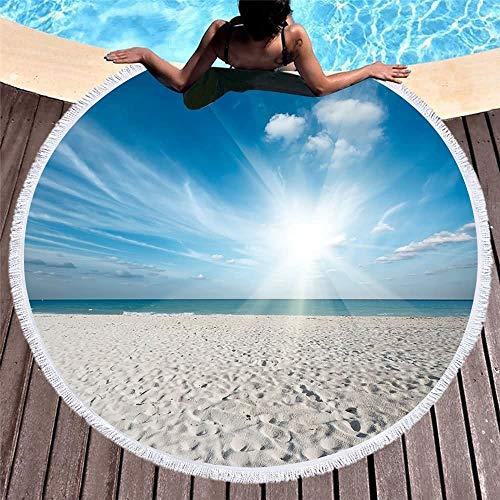 Toalla Azul Cielo Mar Impreso Alrededor de la Playa con la Borla cómodo Yoga Mat Microfibra Viaje de Picnic 150cm Manta j0526 (Color : 84, Size : 150CM)