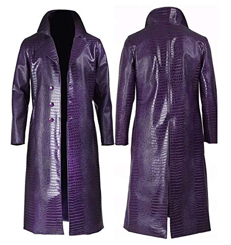 Men's Purple Trench Coat Crocodile Pattern Leather Cosplay Halloween Costume