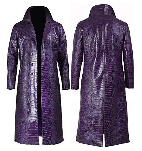 Men's Purple Trench Coat Crocodile Pattern Leather Cosplay Halloween Costume - 3XL
