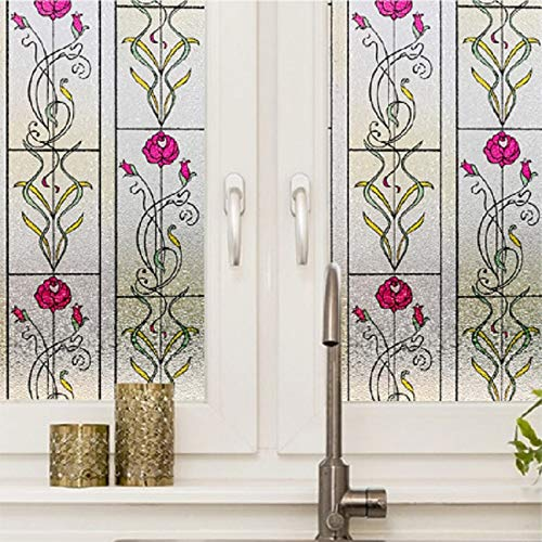 LMKJ Pegatina de Vidrio con patrón de Flores teñidas, Adhesivo estático, Gran Oferta, película reciclable en Relieve A102, 50x100 cm