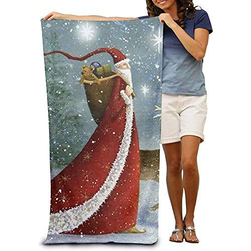 Microfiber strandhanddoek - Kerstman met lange hoed lichtgewicht absorberende sneldrogende SPA handdoeken badpak bad en douche handdoek strand deken voor vrouwen & mannen, meisjes & jongens 32 x 52 inch