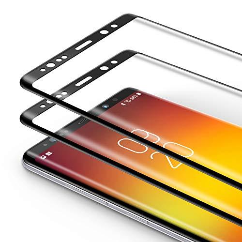 Bewahly Panzerglas Schutzfolie für Samsung Galaxy Note 8 [2 Stück], 9H Festigkeit Panzerglasfolie Ultra Dünn HD Bildschirmschutzfolie Curved Full Cover Folie für Samsung Galaxy Note 8 - Schwarz