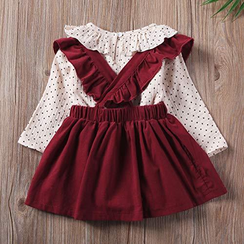 Carolilly Conjunto de ropa de verano para niñas y bebés, conjunto de ropa de verano para niñas, Diseño de lunares rojos., 9-12 meses
