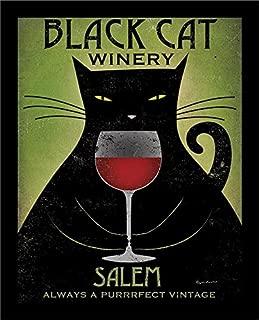 Buyartforless IF WAP 25191 14x11 1.25 Framed Black Cat Winery Salem by Ryan Fowler Art Print Poster, 14