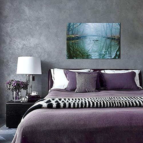 NINEHASA Druck Auf Leinwand,Nebelhafter Sumpf,Kunstdruck Auf Holz-Keilrahmen Für Schlaf-Und Wohnzimmer Bild 45x30cm