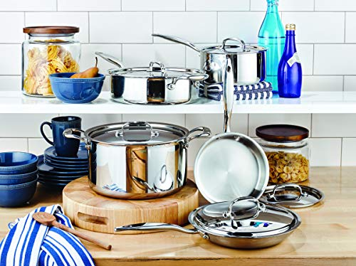 Heritage Steel 10 Piece Cookware Set - Titanium Strengthened 316Ti Stainless Steel with Multiclad Construction - Induction-Ready and Dishwasher-Safe, Made in USA