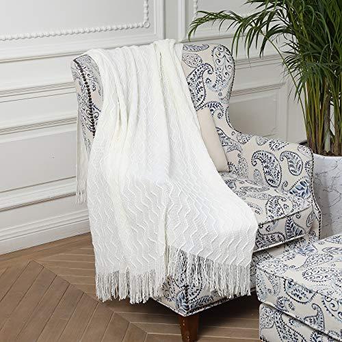 Wohndecke Weich Strick Wolldecke Quaste Kuscheldecke Sofadecke Schlafdecke Decke Weiß
