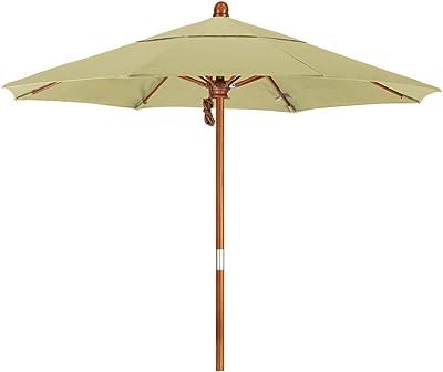 California Umbrella MARE758-F22 7.5' Round Hardwood Frame Market Umbrella, Olefin Antique Beige